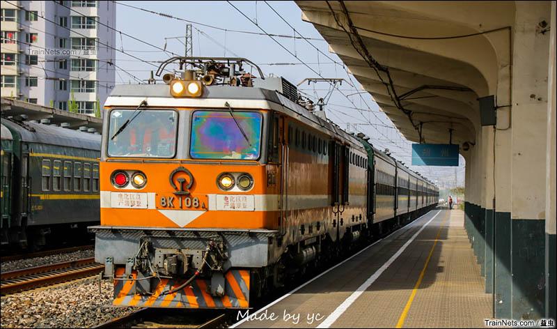 2016年4月23日。时日不多的8K-108牵引6823次(大同-宁武)接朔州站1道。(图/益虫)
