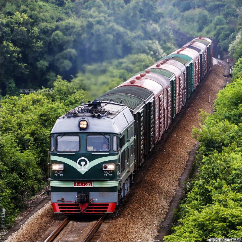 2016年8月4日。广东阳江。三茂铁路。广铁广段的东风4型货运机车牵引行邮列车提速通过。(图/赵家乐)