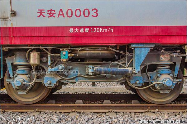 2016年8月。西宁机务段。青藏铁路天安型公务车。转向架。(图/埃尔文的小猫咪)