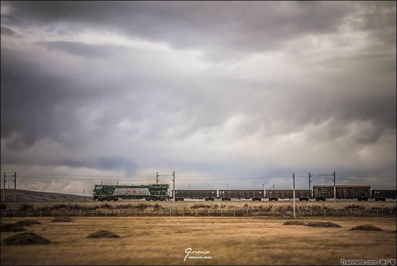 2015年10月。电气化改造中的滨洲线,HXN5呼啸着驶过内蒙大地。(图/仲广智)