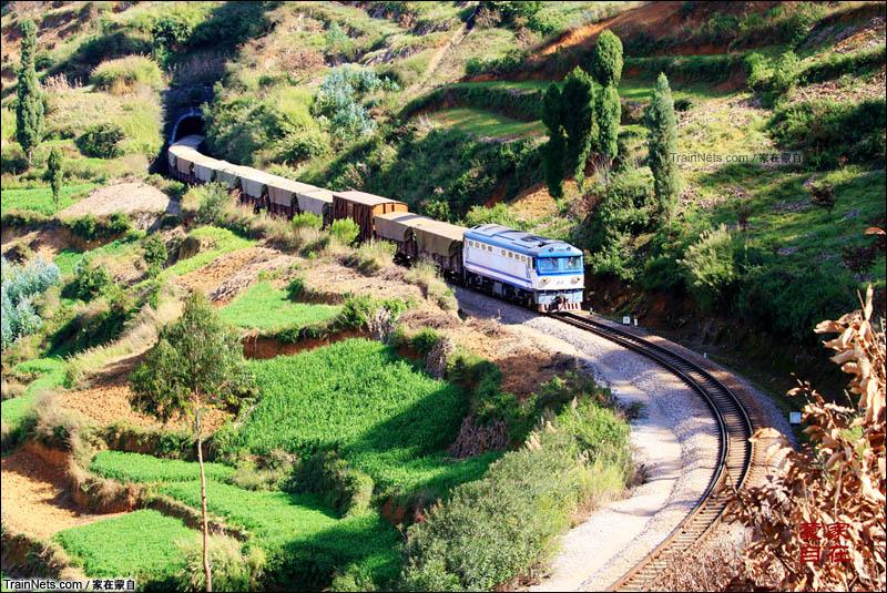 2012年1月。滇越铁路米轨列车冲出山洞,笛声在山谷中回响。(图/家在蒙自)