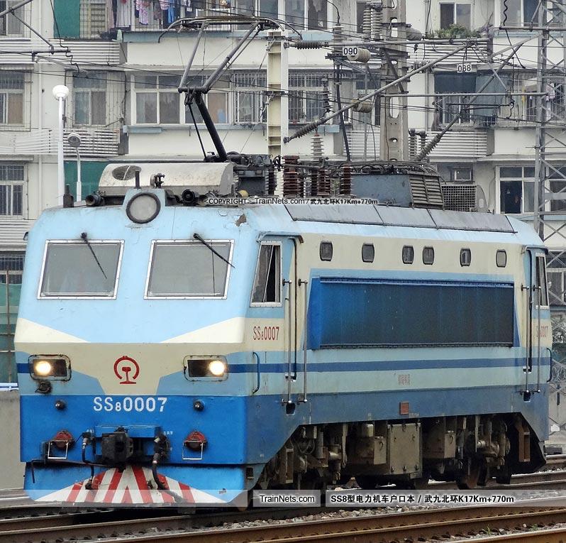 2012年9月22日。武昌站。SS8-0007。(图/武九北环K17Km+770m)