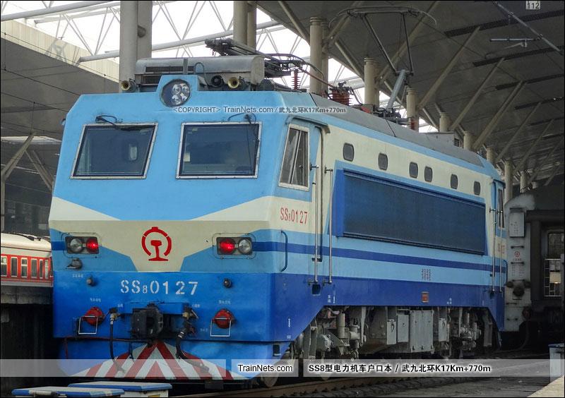 2013年2月22日。武昌站。SS8-0127。(图/武九北环K17Km+770m)