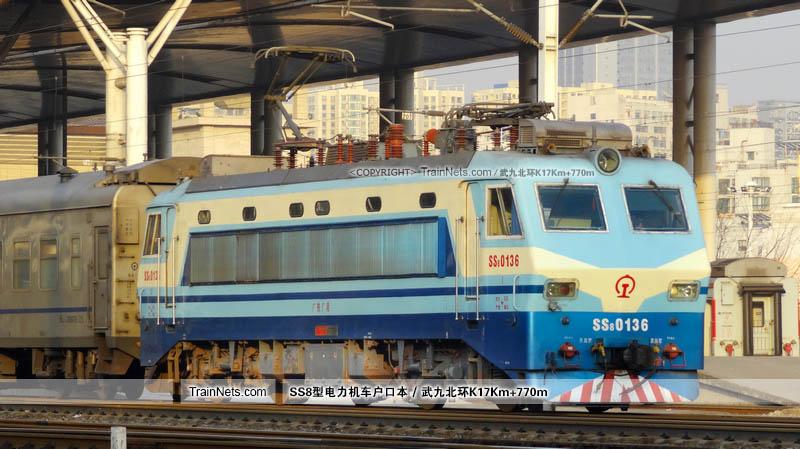 2014年01月20日。武昌站。SS8-0136。(图/武九北环K17Km+770m)